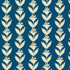Brushed Floral Study 5, Cream on Navy Blue