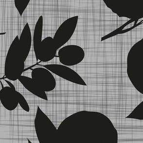 oranges and olives - black on gray linen texture - jumbo size