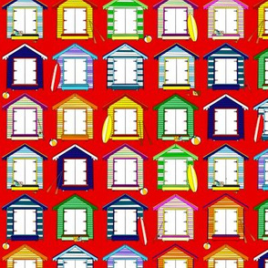 BEACH HUTS ON RED