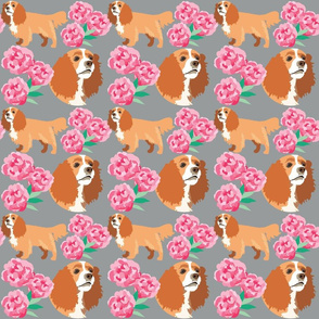 Cocker Spaniel and flowers