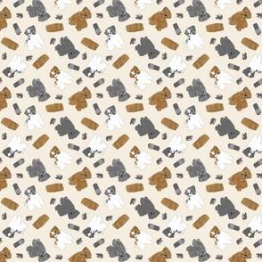 Tiny puppy cut Shih Tzus - barn hunting