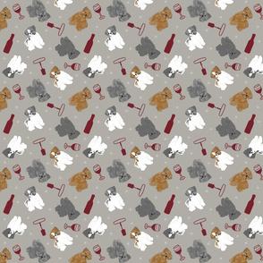 Tiny puppy cut Shih Tzus - wine