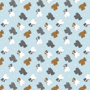 Tiny puppy cut Shih Tzus - winter snowflakes