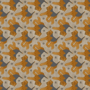 Trotting Welsh Terrier and paw prints - faux linen