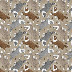 Trotting Bearded Collies and paw prints - faux linen