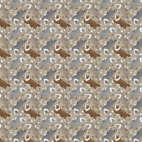 Tiny Trotting Bearded Collies and paw prints - faux linen