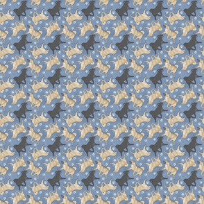 Tiny Trotting Norwegian Buhunds and paw prints - faux denim