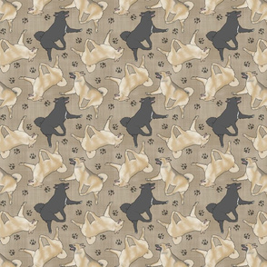 Trotting Norwegian Buhunds and paw prints - faux linen