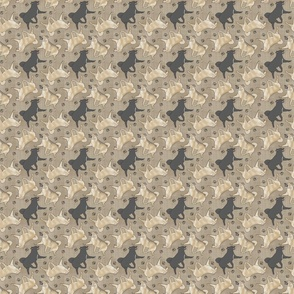 Tiny Trotting Norwegian Buhunds and paw prints - faux linen
