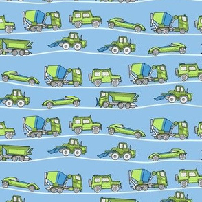 traffic jam - illustrated vehicles blue-green - small scale