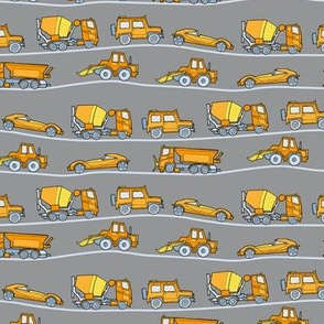 traffic jam - illustrated vehicles gray-yellow-orange - small scale
