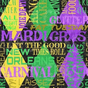 Mardi Gras Harlequin Argyle -- Diamond New Orleans Subway Style Carnival -- Colorful Fonts over Kelly Green, Gold, Illuminating Yellow and Amethyst