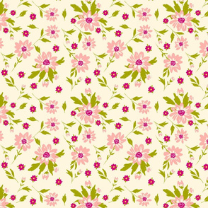 1 ditsy floral baby girl nursery pink girly cottage whimsical painterly flowers terriconraddesigns