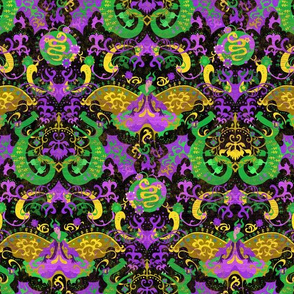 She-Dragon Damask - Mardi Gras - Small Scale -- Purple Green Gold Carnival Devil Butterfly Snake for reimagineddamaskdc in purple, green, gold