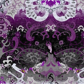 Asexual Dragon Damask - MESSAGE *prior to purchase* FOR CUSTOM REQUESTS - Asexual Flag Colors - Carnival Devil Butterfly Snake for Party, Prom, home decor -- Custom, Personalize