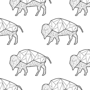 Geometric Bison on White - Large