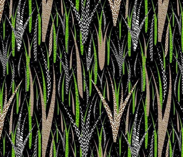 Wild Grasses - Animal Print Blades - Dark - Large Scale