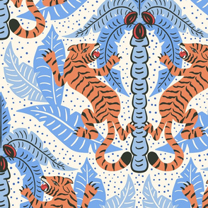 Tiger Damask/light blue orange/jumbo