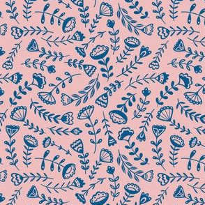Folk Floral - Small Scale Pink/Blue