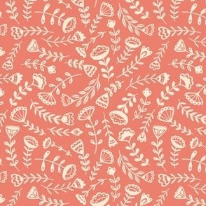 Folk Floral - Small Scale Coral