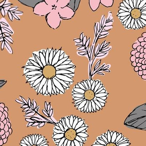 Little sketched wild flowers garden boho daffodil daisies and hydrangea flowers and leaves spring nursery caramel burnt orange vintage pink JUMBO