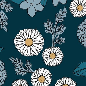 Little sketched wild flowers garden boho daffodil daisies and hydrangea flowers and leaves spring nursery navy blue white JUMBO