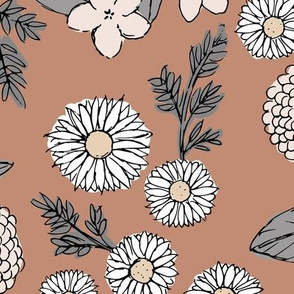 Little sketched wild flowers garden boho daffodil daisies and hydrangea flowers and leaves spring nursery neutral caramel beige sand gray JUMBO