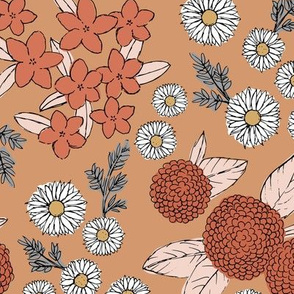 Little sketched wild flowers garden boho daffodil daisies and hydrangea flowers and leaves spring nursery caramel burnt orange vintage red
