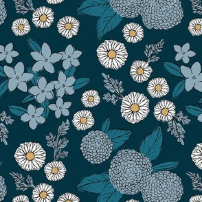 Little sketched wild flowers garden boho daffodil daisies and hydrangea flowers and leaves spring nursery navy blue white