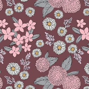 Little sketched wild flowers garden boho daffodil daisies and hydrangea flowers and leaves spring nursery maroon pink gray girls