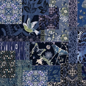 patchwork shades of blue dark floral