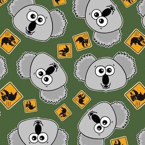 beware cute drop bears - on dark green