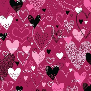 Hearts and Kisses (Dark Magenta)