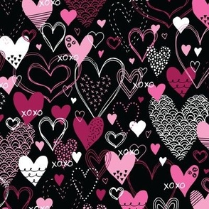 Hearts and Kisses (Black and Pink)
