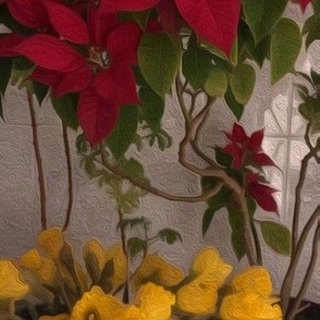 Poinsettia Daffodil Trellis