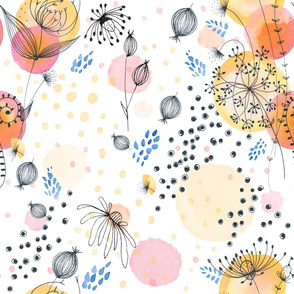 Hand-drawn florals large