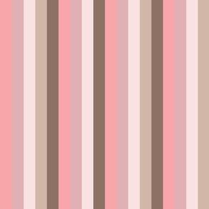 Pink Magnolia Stripe on Tan