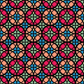 Moroccan circles stained glass colorful black contour Fabric