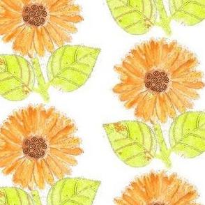 Orange Green Sunflower Watercolor