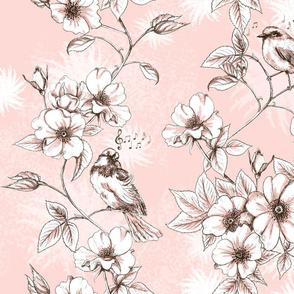 Toile d'Oiseau Rose brown sugar
