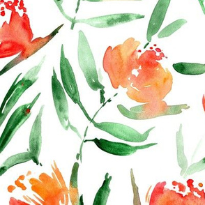 Orange Peony bloom in Florence - watercolor peonies - painted florals for modern home decor p337-1