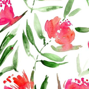 Peony bloom in Florence - watercolor peonies - painted florals for modern home decor p337