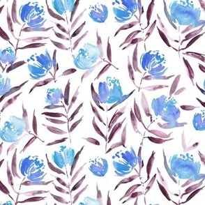 Blue Peony bloom in Florence - watercolor peonies - painted florals for modern home decor p337-4