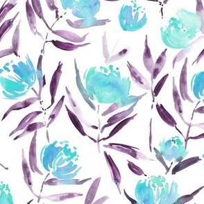 Aquamarine Peony bloom in Florence - watercolor peonies - painted florals for modern home decor p337-5