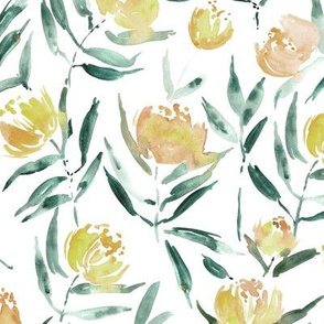Peony bloom in Florence - mustard watercolor peonies - painted florals for modern home decor p337-6