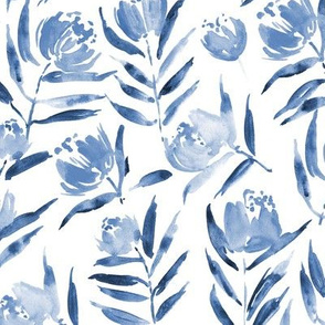 Sapphire Peony bloom in Florence - indigo watercolor peonies - painted florals for modern home decor p337-7