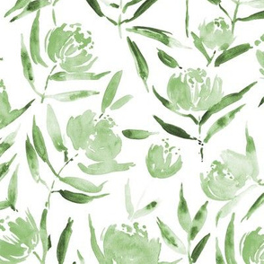 Jade green Peony bloom in Florence - watercolor peonies - painted florals for modern home decor p337-9