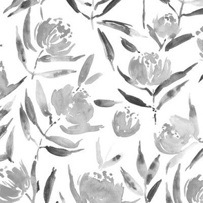 Noir Peony bloom in Florence - grey watercolor peonies - painted florals for modern home decor p337-11