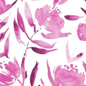Peony bloom in Florence - large scale watercolor peonies - painted florals for modern home decor p337