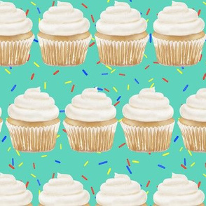 vanilla cupcake rows with sprinkles - green